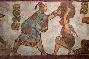 Pinturas y fresco maya en la ciudad de Calakmul, Chiapas, México