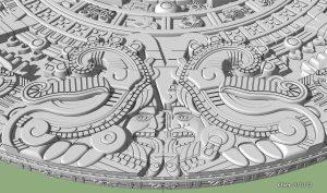 Detalles de los símbolos en el calendario Azteca