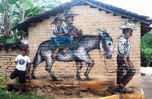 El arte urbano de inspirado en campesinos, Guerrero, México