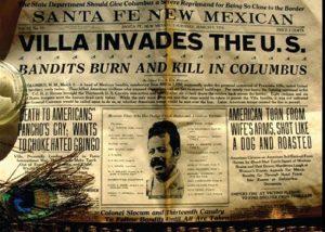 Periódico sobre la invasión de Pancho Villa a Columbus, EUA